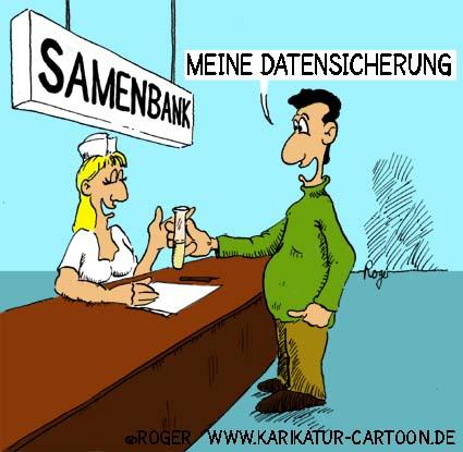 Karikatur, Cartoon: Samenbank, Samenspende, © Roger Schmidt