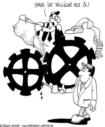Karikatur, Cartoon: Sand im Getriebe, © Roger Schmidt