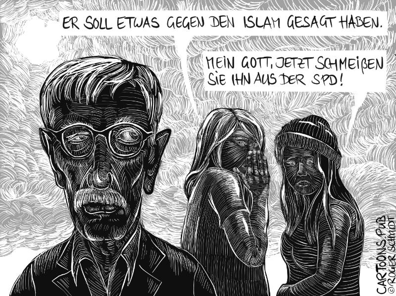 Karikatur, Cartoon: SPD will Parteiausschluss Sarrazin © Roger Schmidt