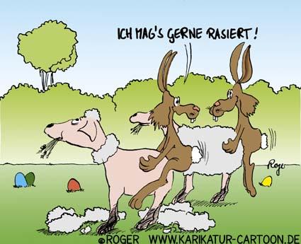 Karikatur, Cartoon: Das rasiertes Schaf © Roger Schmidt