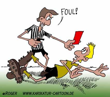 Karikatur, Cartoon: Schiedsrichter Fussball, © Roger Schmidt
