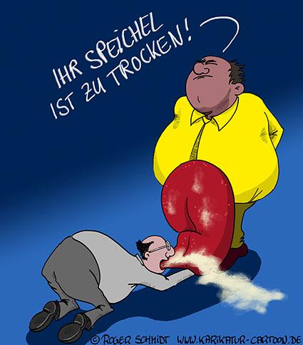Karikatur, Cartoon: Achtung, Schleimer!, © Roger Schmidt