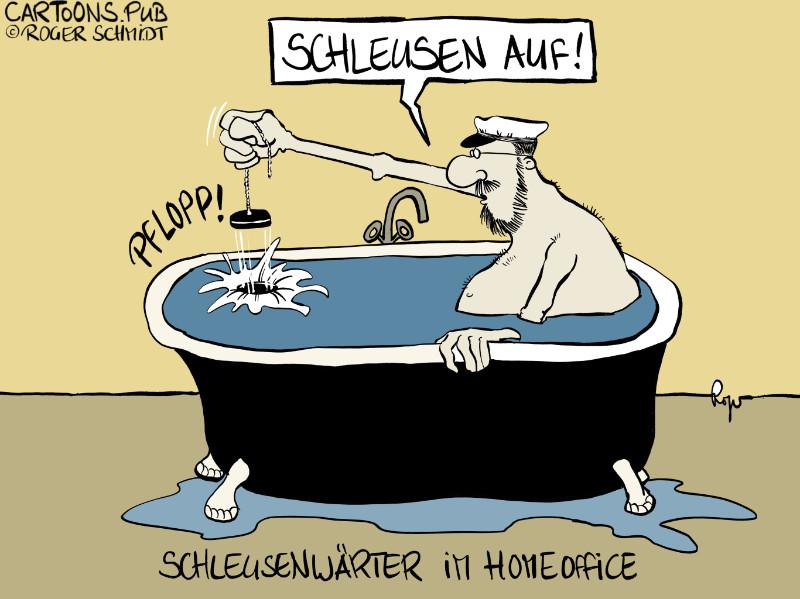 Karikatur, Cartoon: Homeoffice für Schleusenwärter © Roger Schmidt