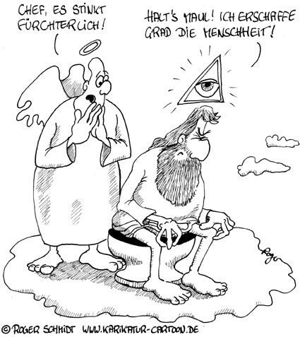 Karikatur, Cartoon: Die Schöpfungsgeschichte, © Roger Schmidt