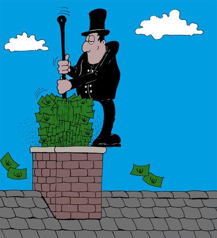 Karikatur, Cartoon: Schornsteinfeger Gebühren, © Roger Schmidt