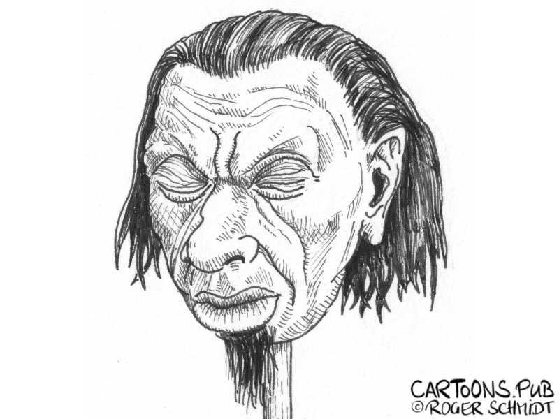 Karikatur, Cartoon: Schrumpfkopf © Roger Schmidt