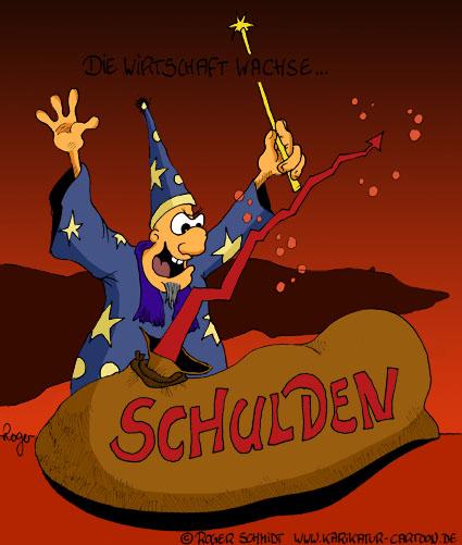 Karikatur, Cartoon: Der Schulden-Zauberer, © Roger Schmidt