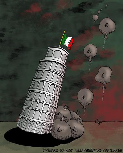 Karikatur, Cartoon: Schuldenkrise in Italien, © Roger Schmidt