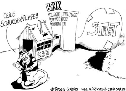 Karikatur, Cartoon: Die Schuldenpumpe, © Roger Schmidt