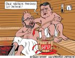 Karikatur, Cartoon: Aufguss mit Schulz und Gabriel, © Roger Schmidt