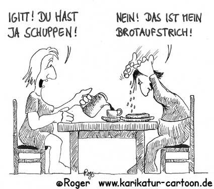 Karikatur, Cartoon: Schuppen im Haar, © Roger Schmidt