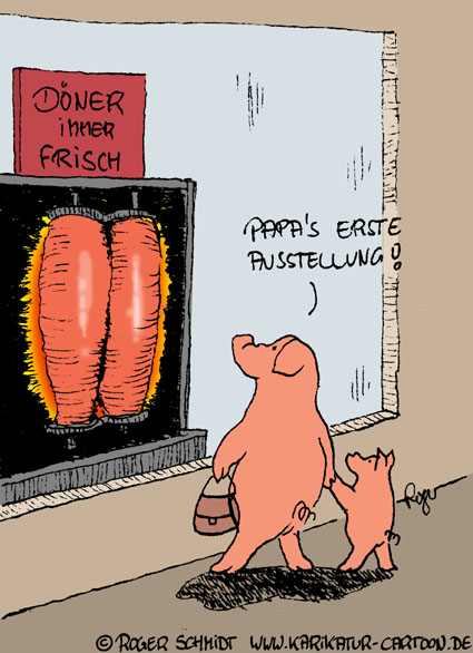 Karikatur, Cartoon: Schweine auf der Ausstellung, © Roger Schmidt