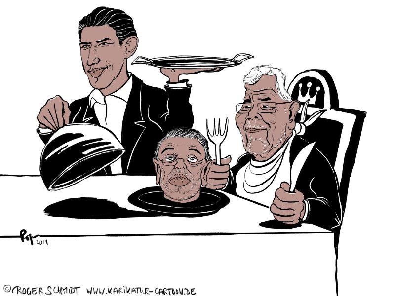 Karikatur, Cartoon: Kurz serviert das Menü Kickl, © Roger Schmidt