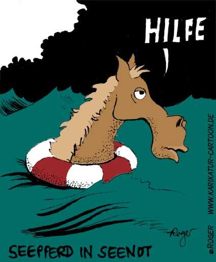 Karikatur, Cartoon: Seepferd, © Roger Schmidt