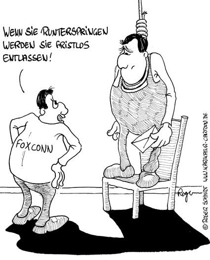 Karikatur, Cartoon: Selbstmord bei Foxconn - iPhone, © Roger Schmidt