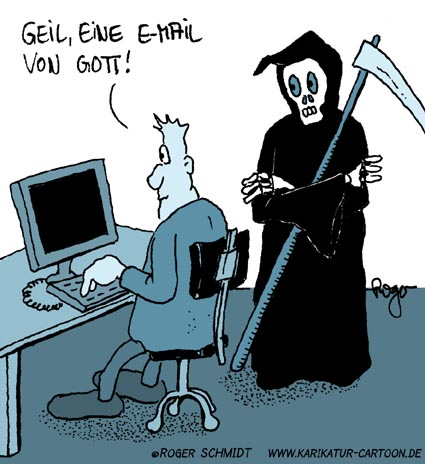 Karikatur, Cartoon: Sensemann, © Roger Schmidt