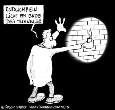 Karikatur, Cartoon: Die Sichtweise bei der Selbstmotivation, © Roger Schmidt
