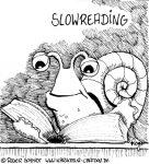 Karikatur, Cartoon: Slowreading, © Roger Schmidt