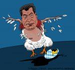 Karikatur, Cartoon: Söder nach Wahl in Bayern gerupft, © Roger Schmidt