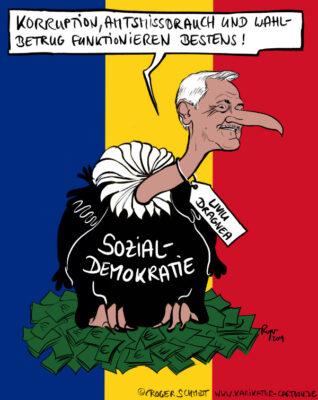 Karikatur, Cartoon: Sozialdemokratie à la Rumänien, © Roger Schmidt