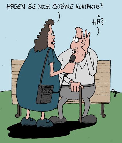 Karikatur, Cartoon: Soziale Kontakte, © Roger Schmidt