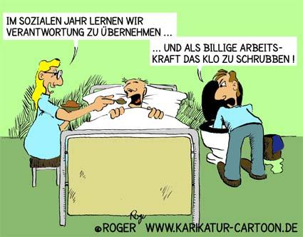 Karikatur, Cartoon: Soziales Jahr, Pflichtjahr, © Roger Schmidt