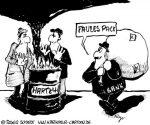 Karikatur, Cartoon: Sozialstaat am Abgrund, © Roger Schmidt