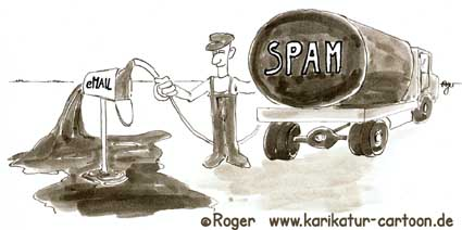 Karikatur, Cartoon: Spam, E-Mail, © Roger Schmidt