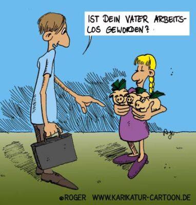 Karikatur, Cartoon: Arbeitslos, © Roger Schmidt