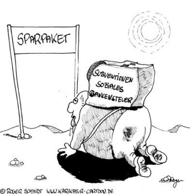 Karikatur, Cartoon: Spartipps für die Regierung, © Roger Schmidt