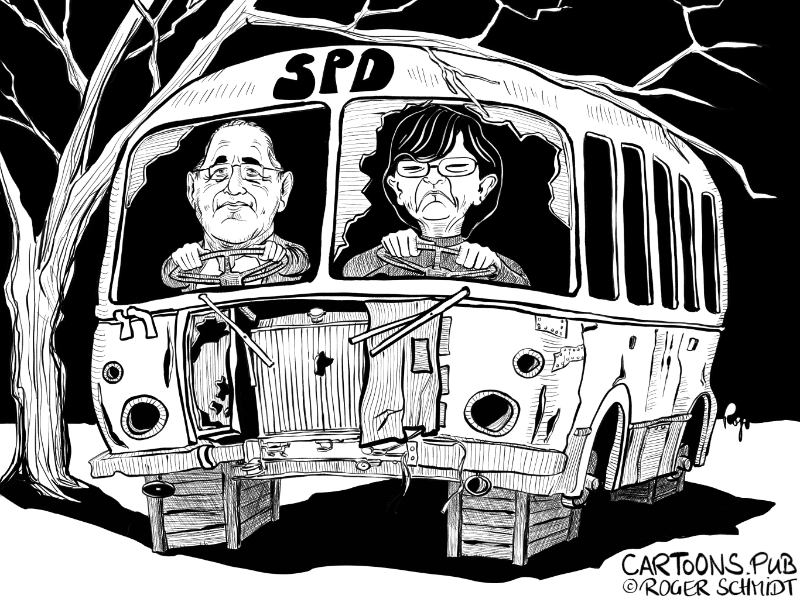 Karikatur, Cartoon: Quo Vadis, SPD? © Roger Schmidt