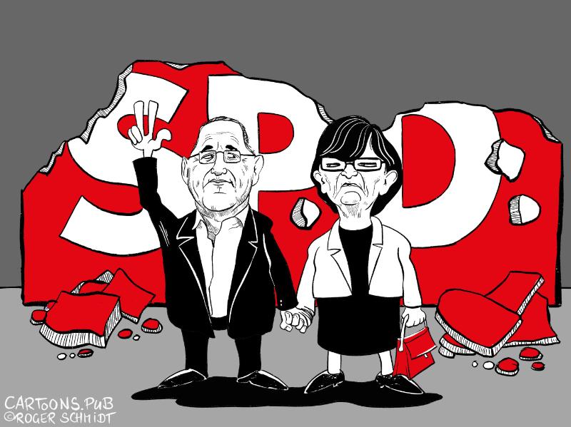 Karikatur, Cartoon: SPD-Trümmerland mit Esken und Borjans © Roger Schmidt