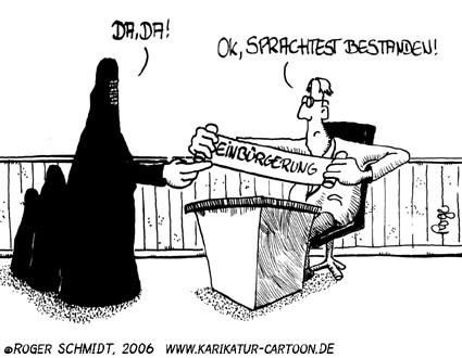 Karikatur, Cartoon: Sprachtest, © Roger Schmidt