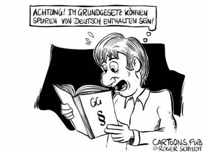 Karikatur, Cartoon: Spuren von Deutsch im Grundgesetz © Roger Schmidt