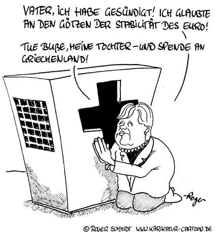 Karikatur, Cartoon: Die Stabilität des Euro, © Roger Schmidt