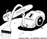 Karikatur, Cartoon: Staubsauger Wikileaks ohne Luft, © Roger Schmidt