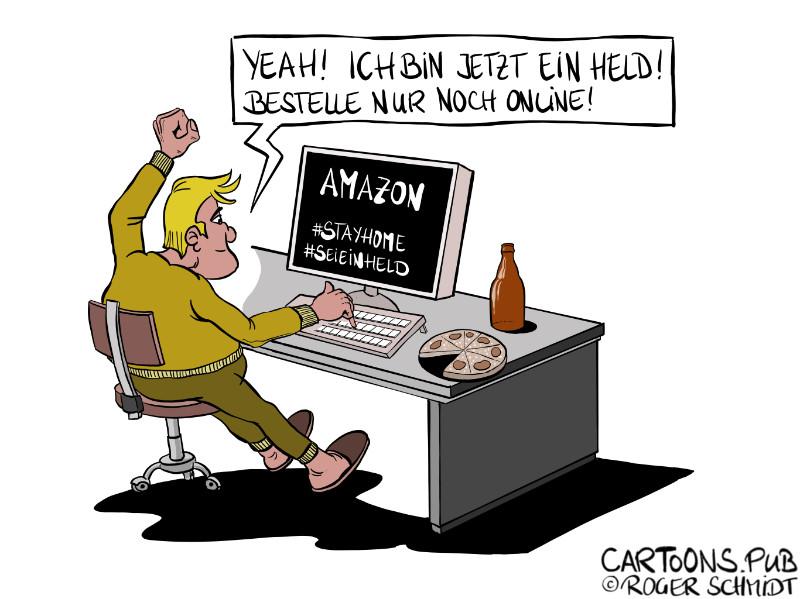 Karikatur, Cartoon: Sei ein Held - StayHome zum harten Lockdown © Roger Schmidt