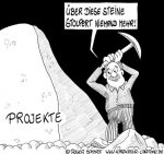 Karikatur, Cartoon: Arbeitspaket im Projekt, © Roger Schmidt