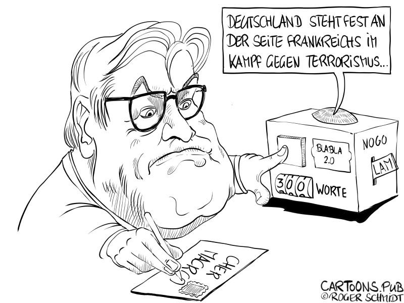 Karikatur, Cartoon: Steinmeier kondoliert nach Terroranschlag in Frankreich © Roger Schmidt
