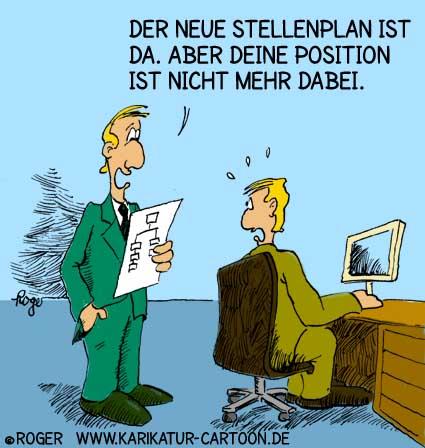 Karikatur, Cartoon: Outsourcing, Stellenabbau, Entlassung, © Roger Schmidt