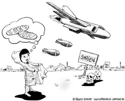 Karikatur, Cartoon: Bomben statt Sterntaler, © Roger Schmidt