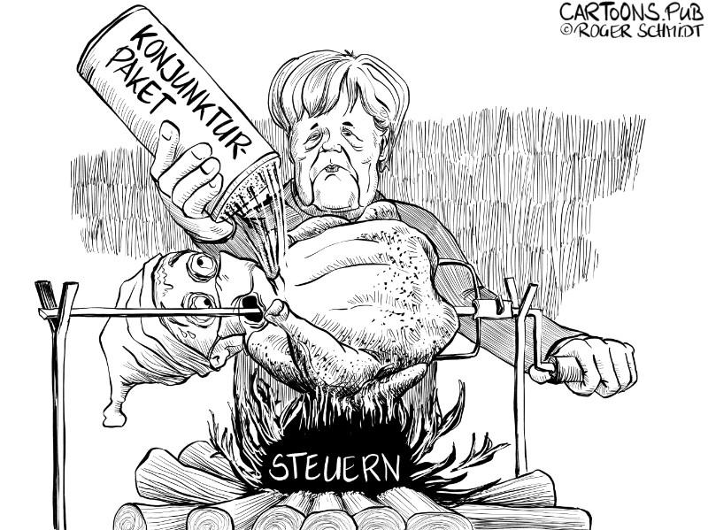 Karikatur, Cartoon: Steuererhöhung fürs Konjunkturpaket © Roger Schmidt