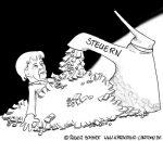 Karikatur, Cartoon: Steuerlast senkt Schulden, © Roger Schmidt