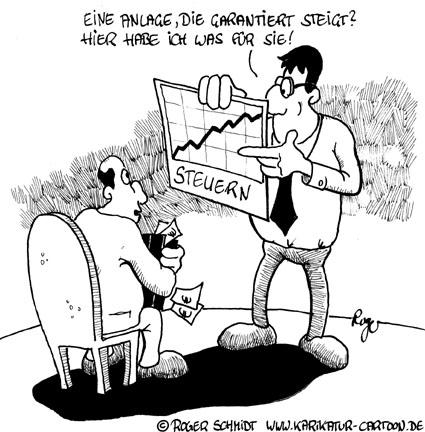 Karikatur, Cartoon: Steuern sparen, © Roger Schmidt