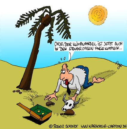 Karikatur, Cartoon: Steueroase, © Roger Schmidt