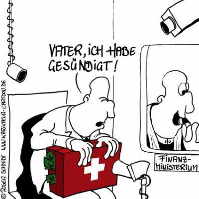 Karikatur, Cartoon: Steuersünder Steuerhinterziehung, © Roger Schmidt