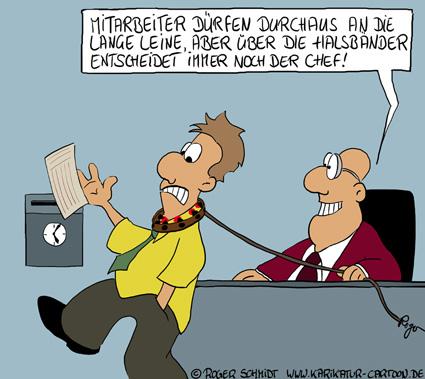 Karikatur, Cartoon: Mitarbeiter brauchen Steuerung und Kontrolle..., © Roger Schmidt