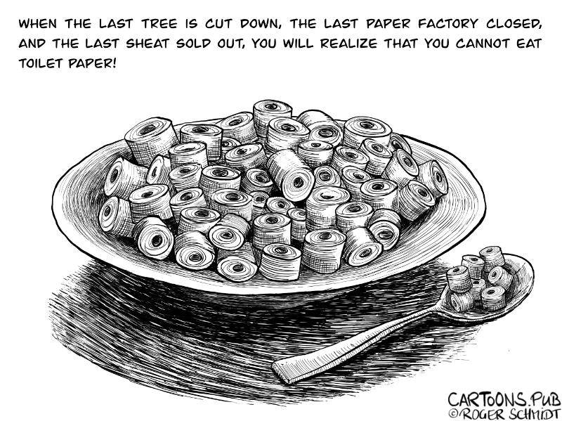Karikatur, Cartoon: Stilleben mit Teller und Löffel © Roger Schmidt
