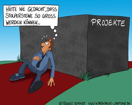 Karikatur, Cartoon: Stolpersteine im Projektmanagement, © Roger Schmidt