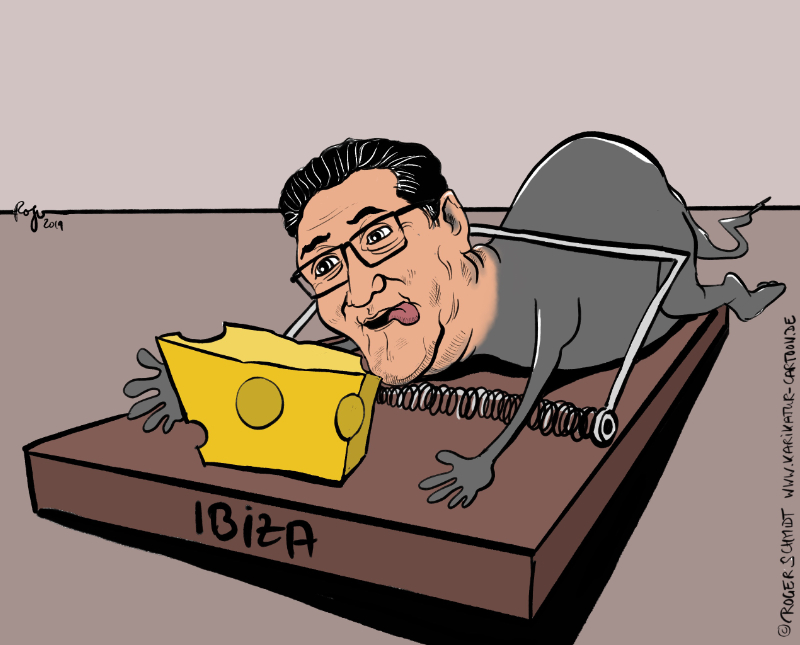 Karikatur, Cartoon: Strache und der Ibiza-Dreh, © Roger Schmidt